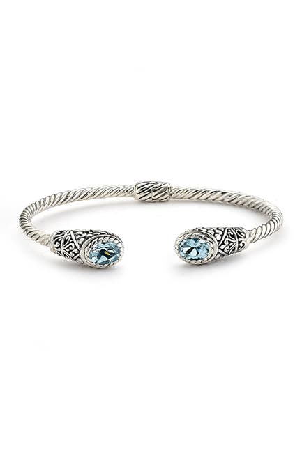 Image of Samuel B Jewelry Sterling Silver Twisted Cable Oval Cut Blue Topaz Hinged Bangle
