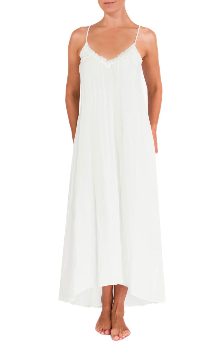 EVERYDAY RITUAL Ruffle Nightgown, Main, color, White