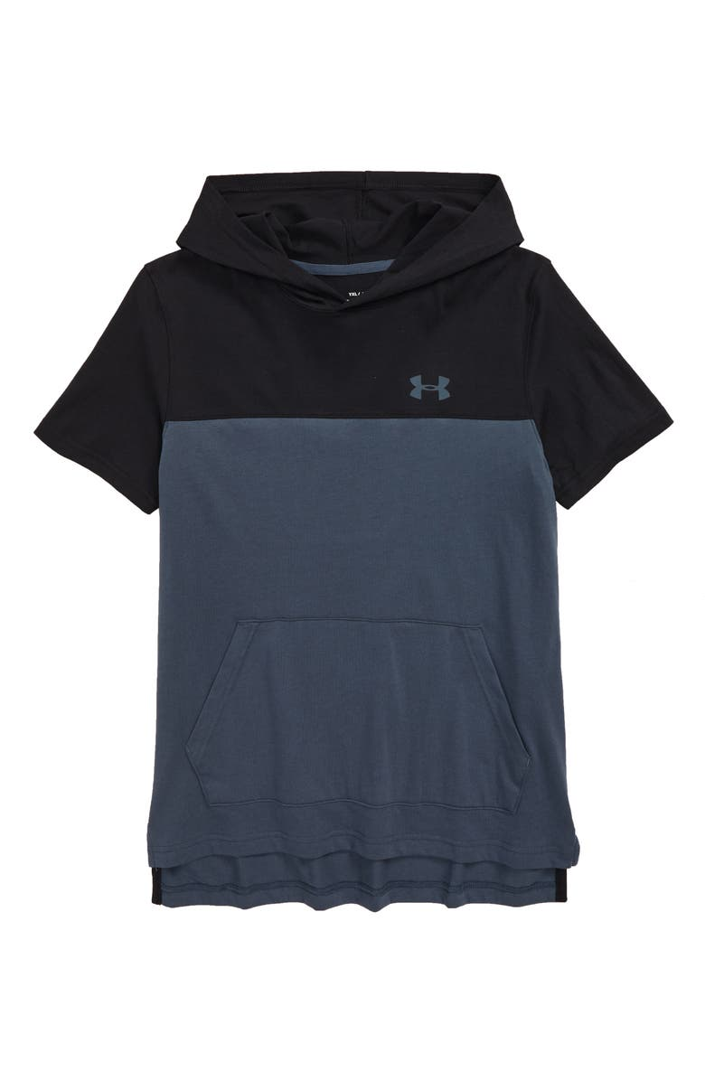 UNDER ARMOUR Sportstyle Short Sleeve Hoodie, Main, color, WIRE/ BLACK