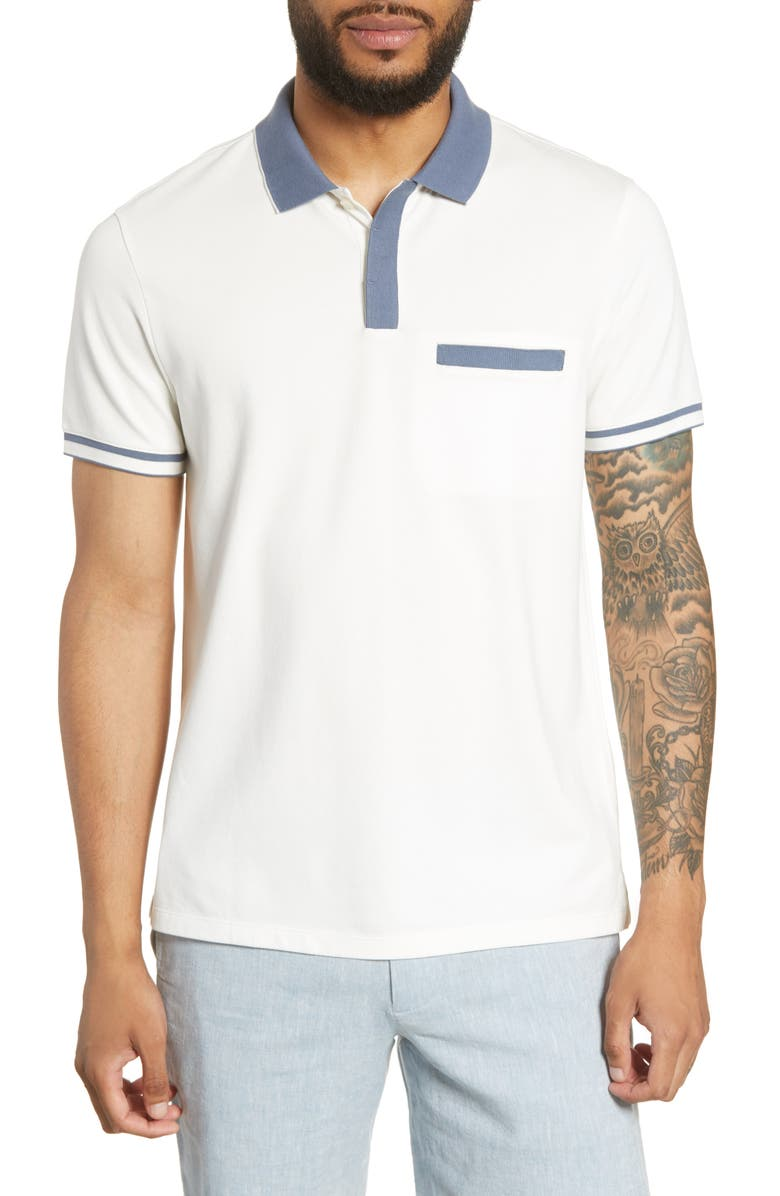 CLUB MONACO Jersey Pocket Polo, Main, color, BLANC DE BLANC