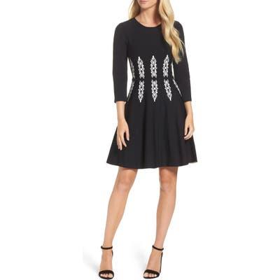 Eliza J Three-Quarter Sleeve Fit & Flare Dress, Black
