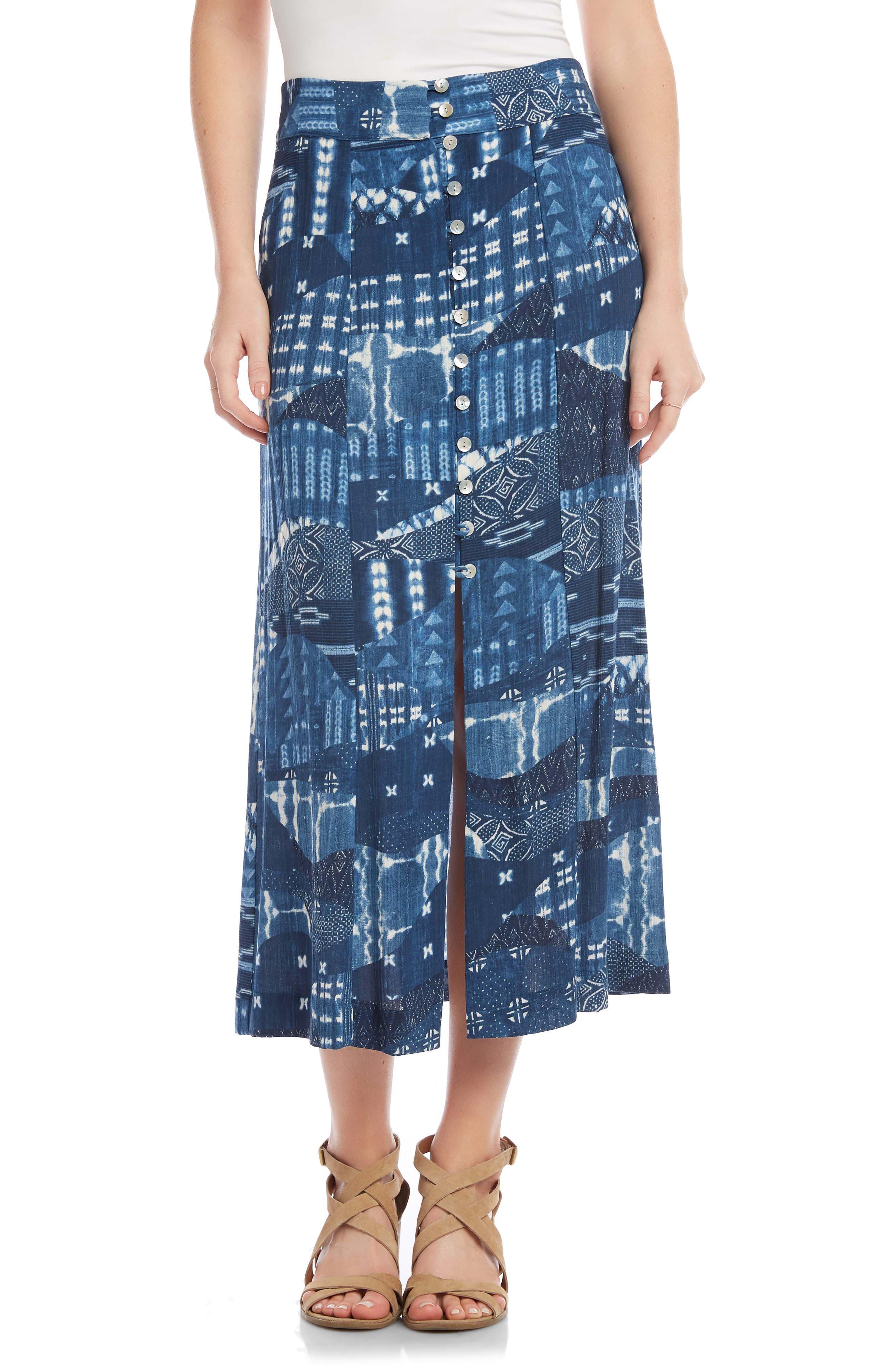 Front Button Midi Skirt