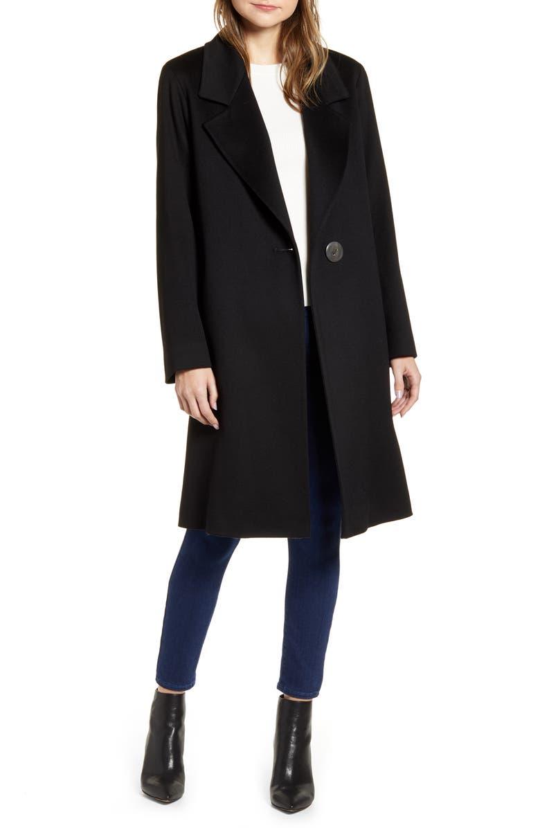 FLEURETTE One-Button Wool Coat, Main, color, BLACK