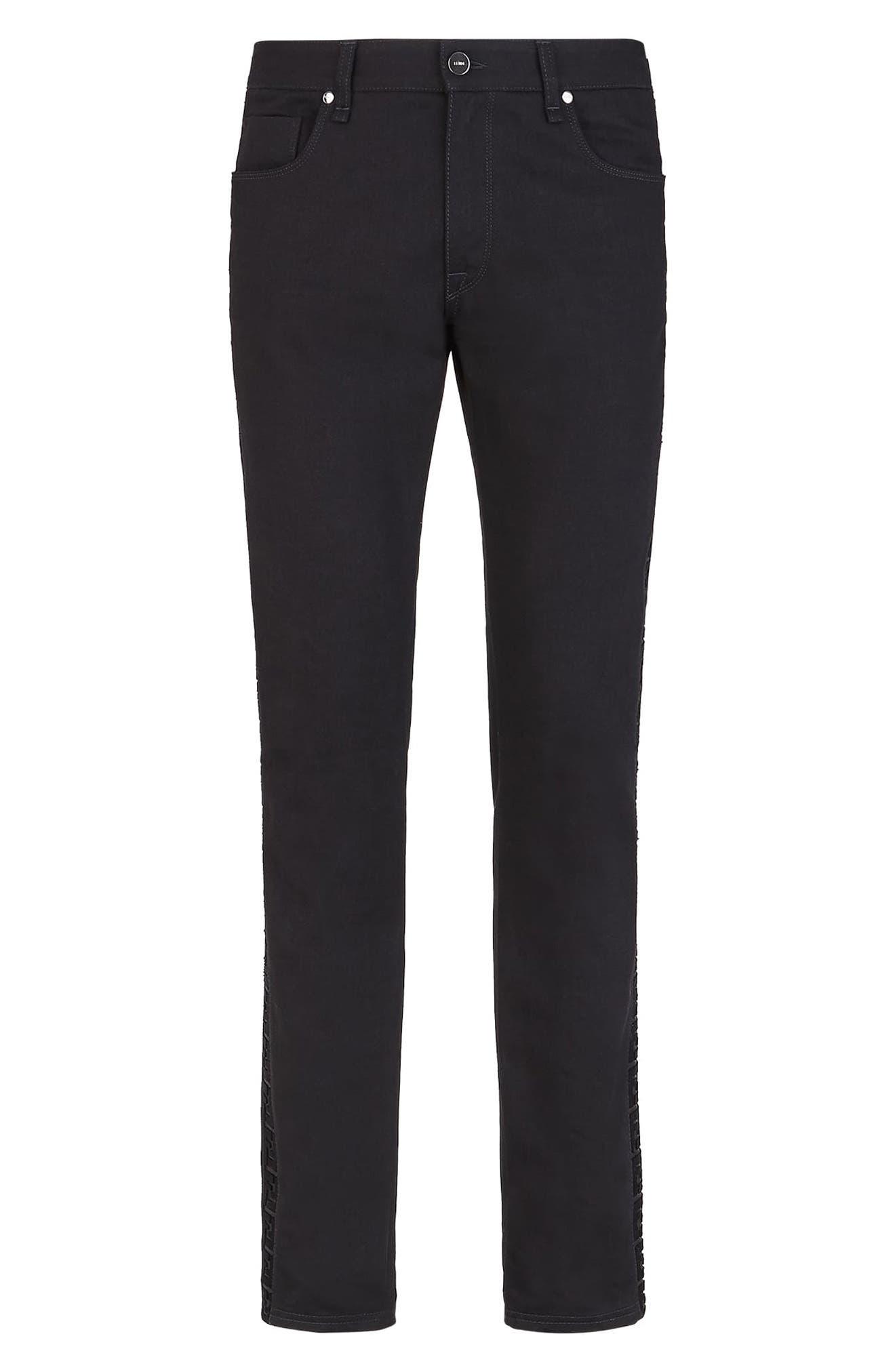 Men's Fendi Ff Velvet Stripe Slim Fit Jeans,  32 - Black