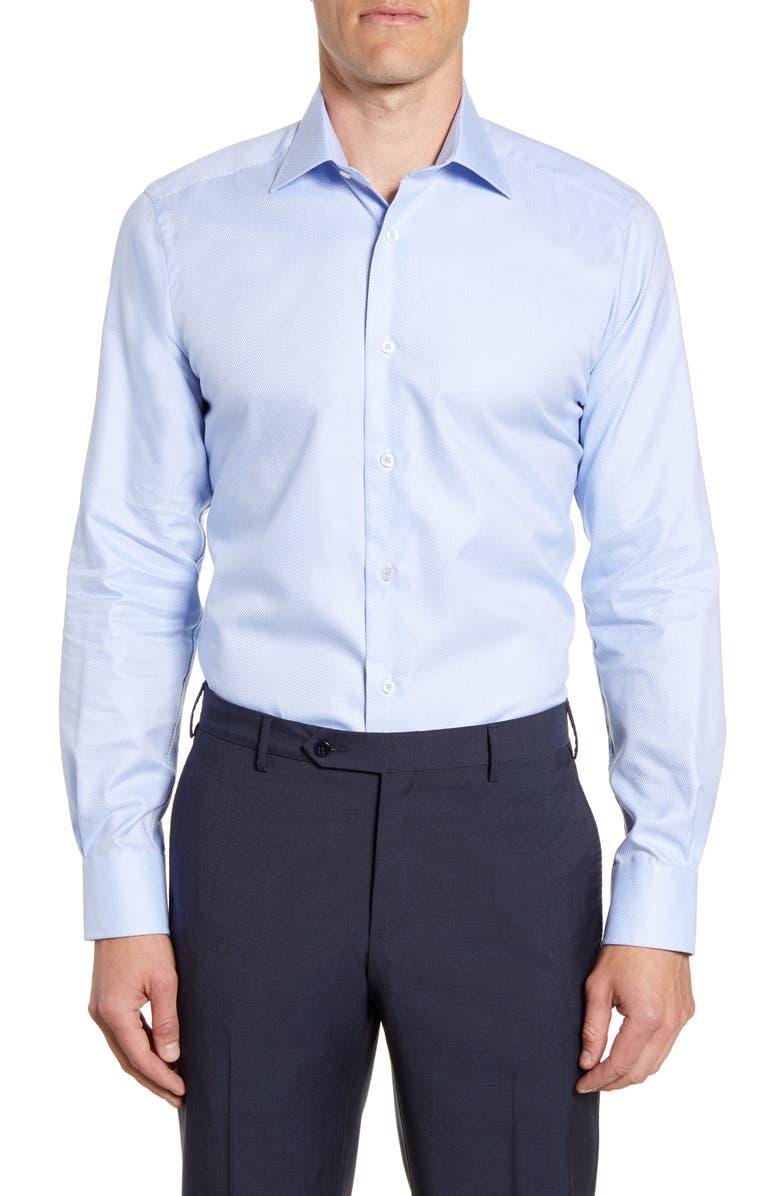 DAVID DONAHUE Trim Fit Dress Shirt, Main, color, SKY