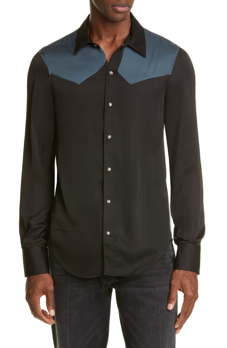 BILLY LOS ANGELES Western Snap-Front Shirt, Main, color, VINTAGE BLACK/DUSTY BLUE