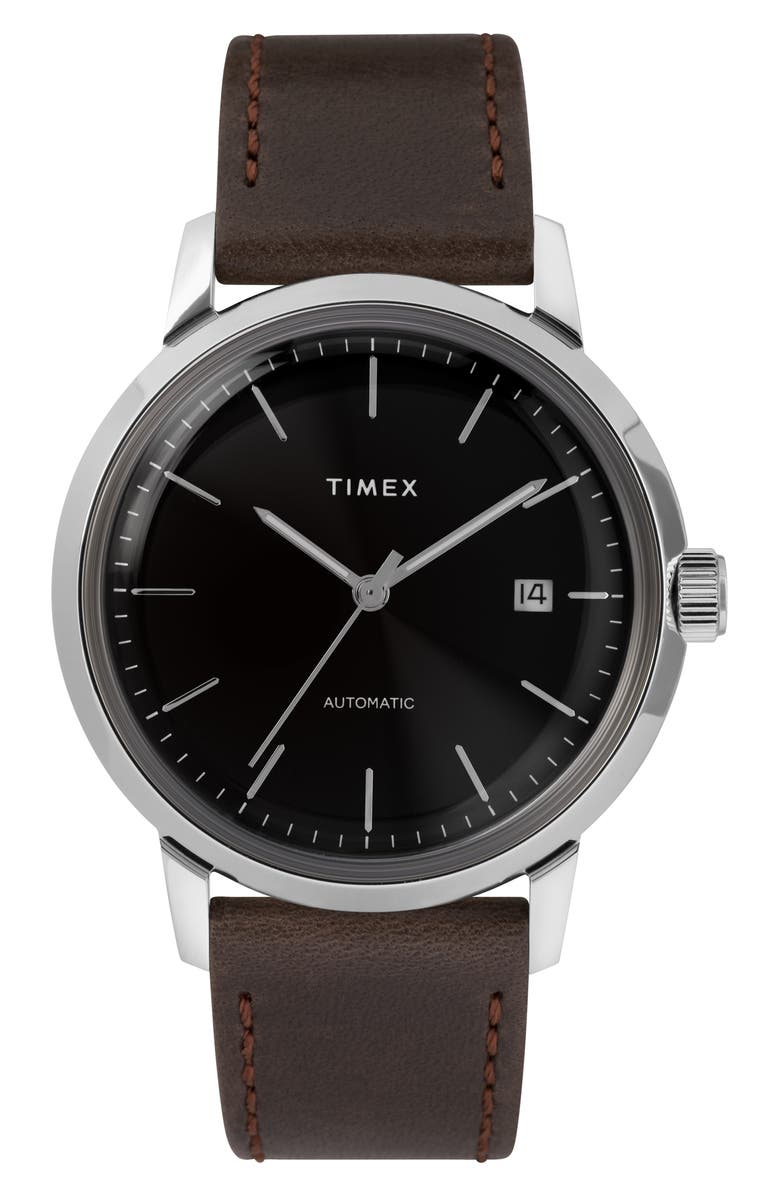 TIMEX<SUP>®</SUP> Marlin Automatic Leather Strap Watch, 40mm, Main, color, SILVER/ BLACK/ BROWN