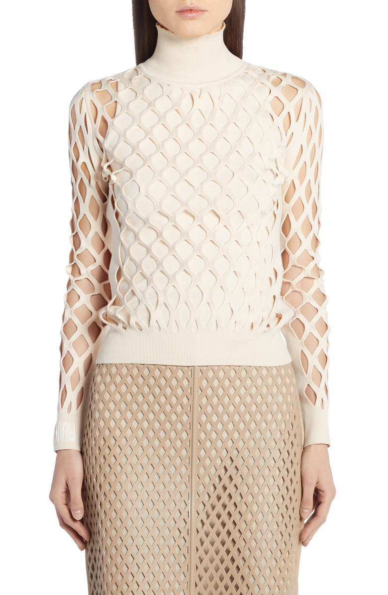 FENDI Mesh Turtleneck Sweater, Main, color, CREAM