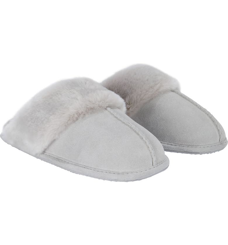 THE WHITE COMPANY Suede Mule Slipper with Faux Fur Trim, Main, color, PALE GREY