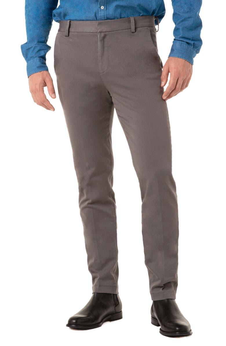 LIVERPOOL Slim Straight Leg Twill Chinos, Main, color, GUNMETAL