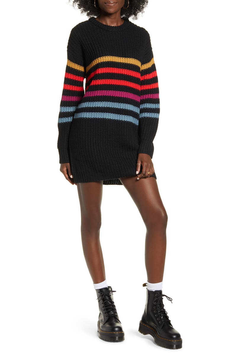 VOLCOM Move On Up Long Sleeve Sweater Dress, Main, color, 005
