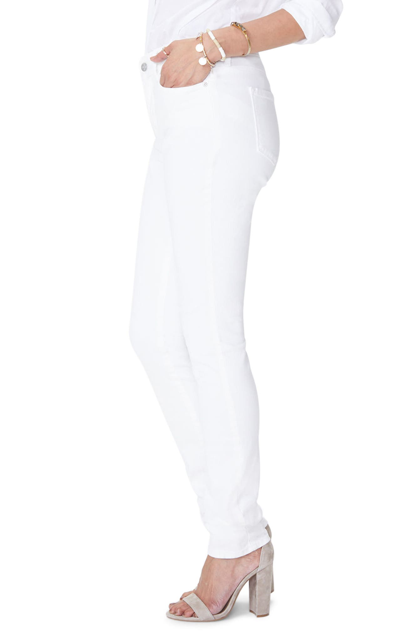 ,                             Marilyn High Waist Stretch Straight Jeans,                             Alternate thumbnail 4, color,                             OPTIC WHITE