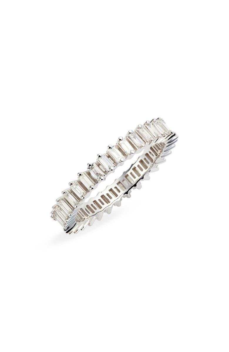 DANA REBECCA DESIGNS Sadie Pearl Diamond Baguette Stacking Ring, Main, color, WHITE GOLD/ DIAMOND