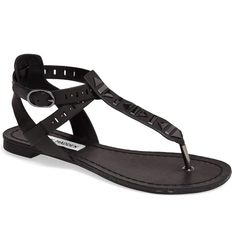STEVE MADDEN 'Zeta' Studded Sandal, Main, color, 001