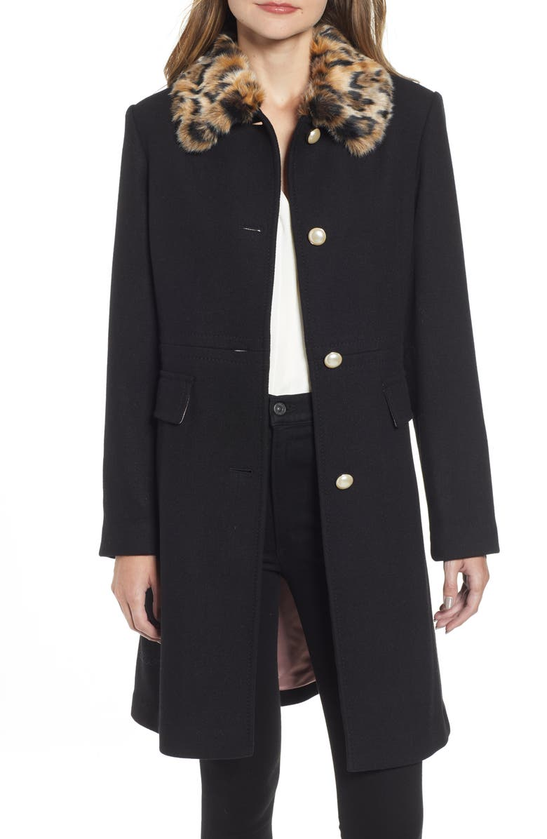KATE SPADE NEW YORK faux fur collar wool blend coat, Main, color, 001