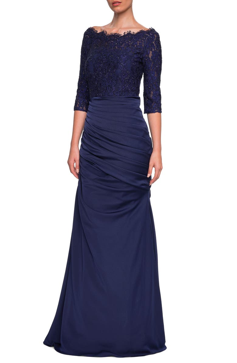 LA FEMME Lace Top Trumpet Gown, Main, color, NAVY