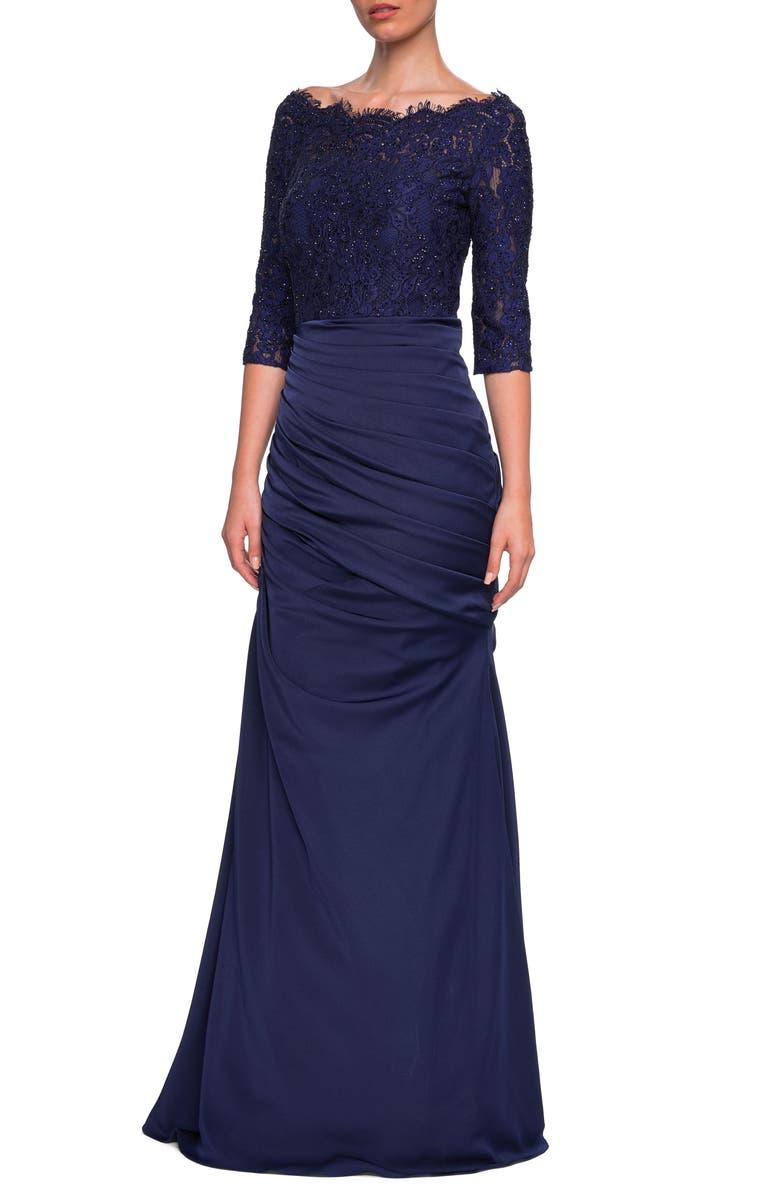 LA FEMME Sparkle Lace Trumpet Gown, Main, color, NAVY