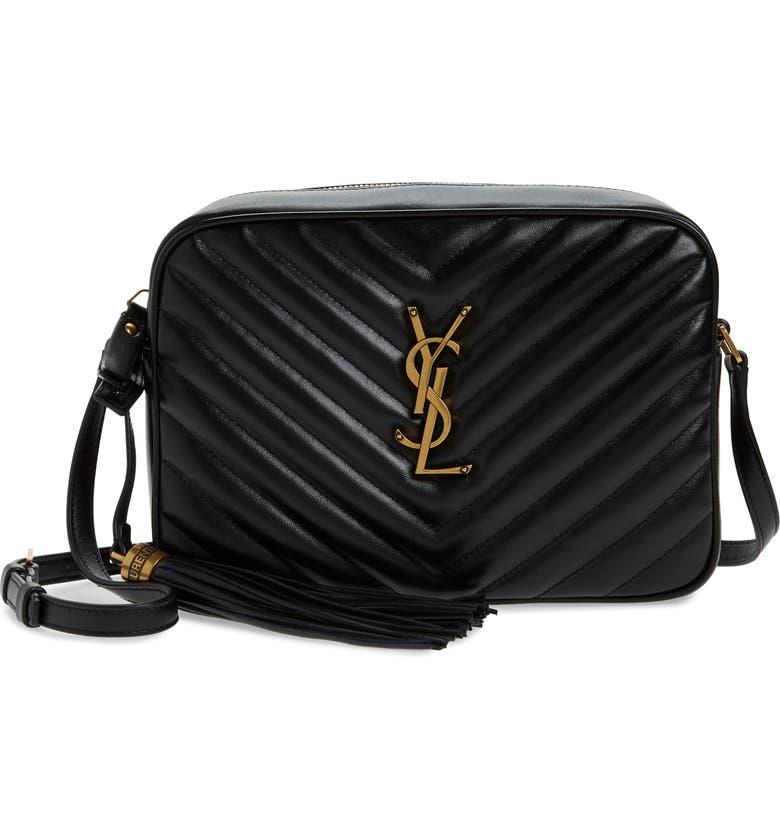 SAINT LAURENT Lou Matelassé Leather Camera Bag, Main, color, NERO