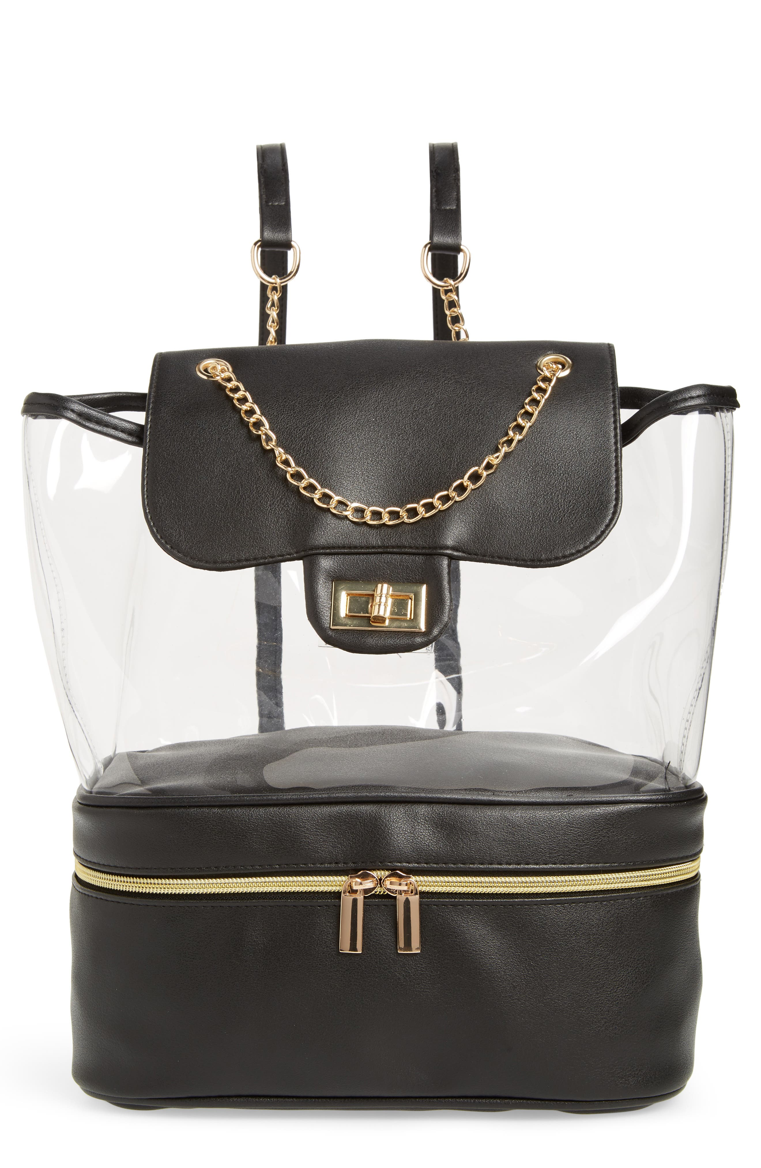 Jane & Berry Chain Strap Clear Backpack - Black
