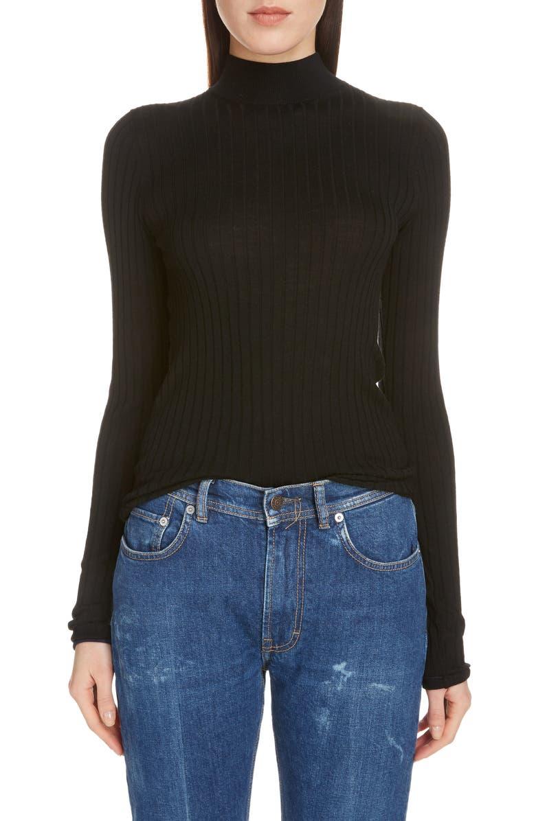 ACNE STUDIOS Kulia Ribbed Merino Wool Sweater, Main, color, BLACK