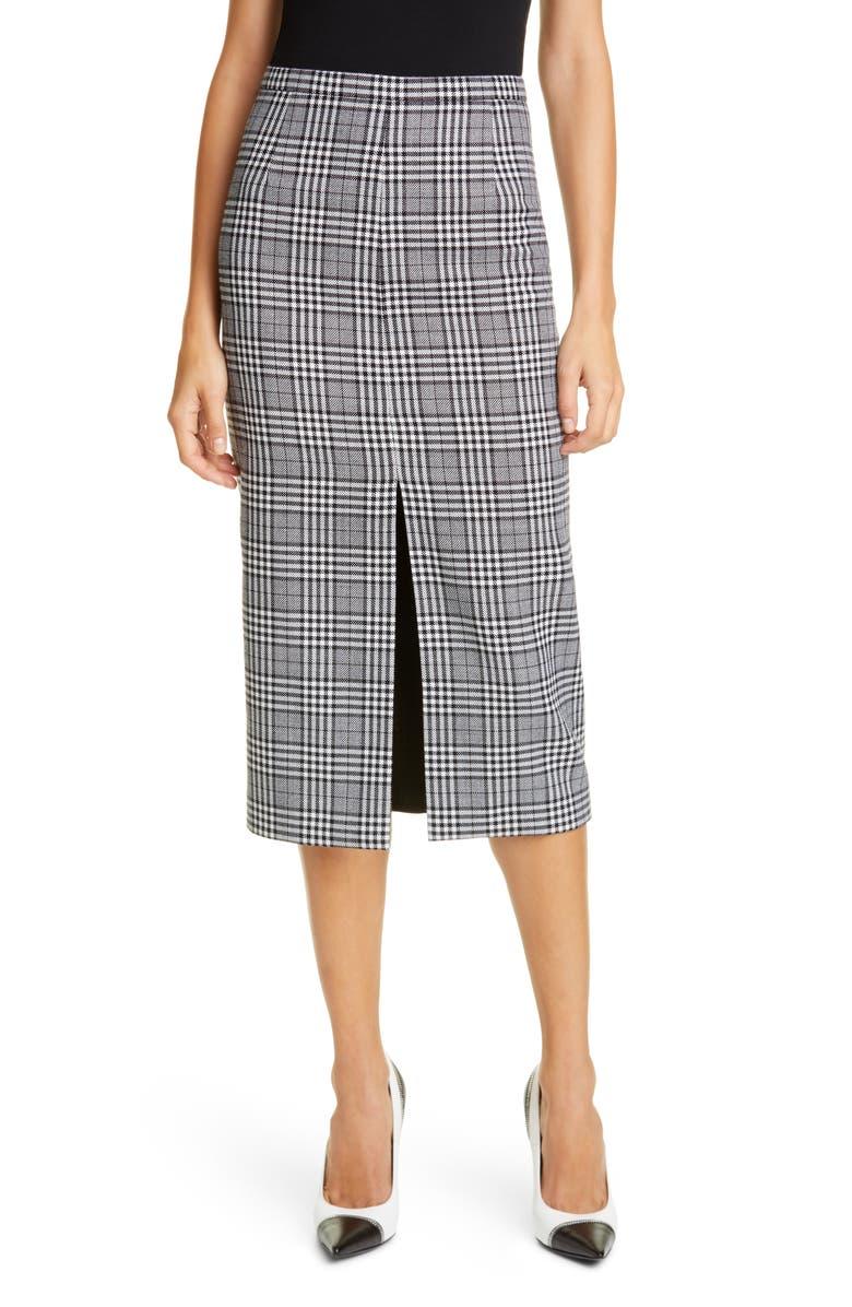 MICHAEL KORS COLLECTION Slit Plaid Wool Pencil Skirt, Main, color, BLACK/ WHITE