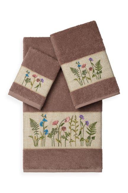 Image of LINUM HOME Serenity 3-Piece Embellished Towel Set - Latte