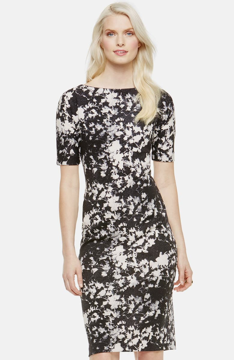 VINCE CAMUTO 'Bustling Floral' Print Scuba Knit Sheath Dress, Main, color, SWAN GREY