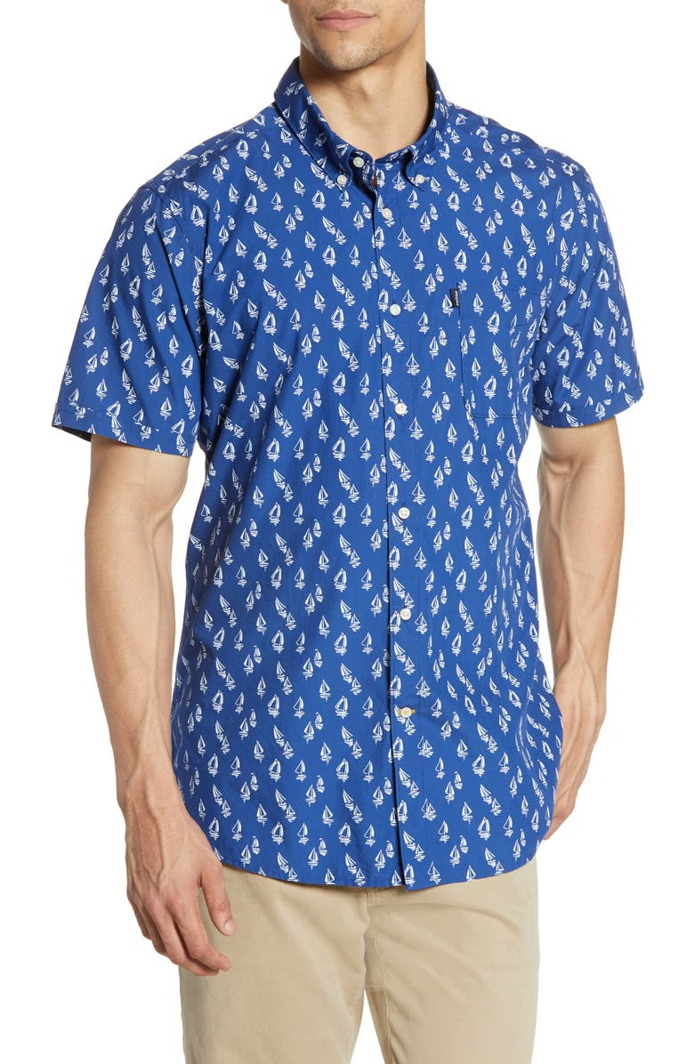 BARBOUR Tailored Fit Boat Print Woven Shirt, Main, color, NAVY