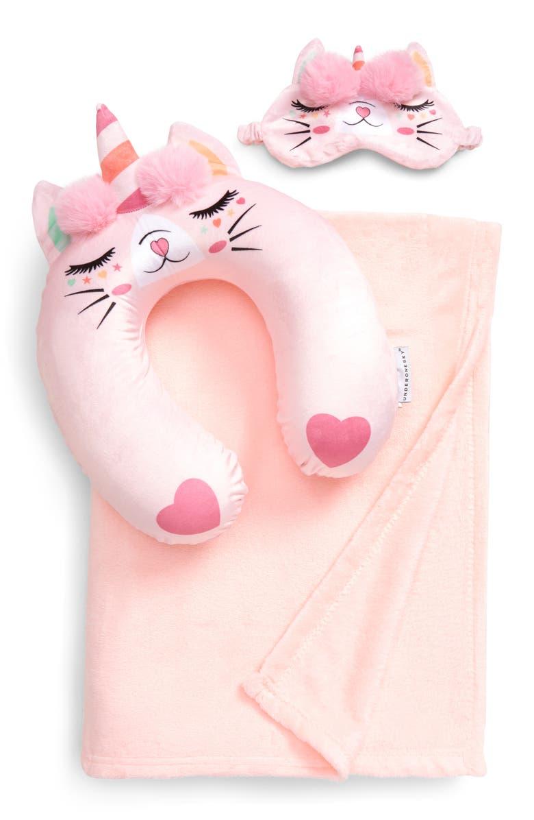 UNDER ONE SKY Caticorn 3-Piece Travel Pillow, Blanket & Eye Mask Set, Main, color, BLUSH