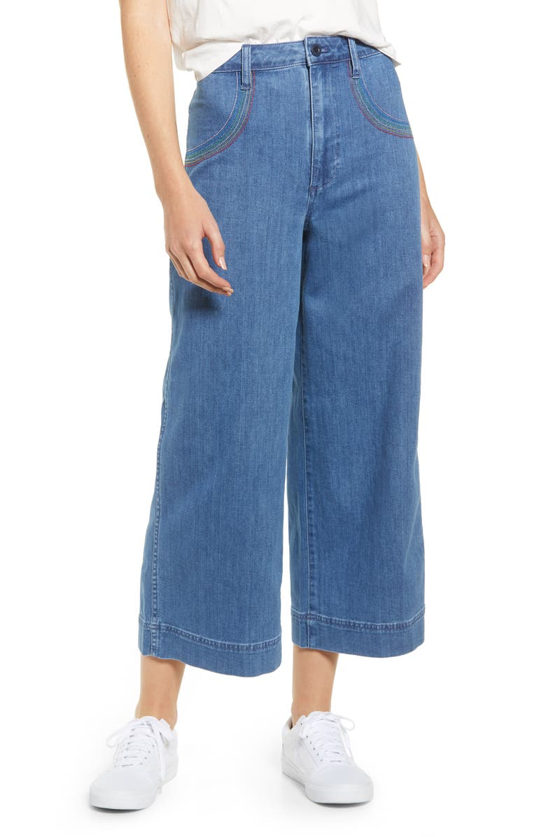 198686502 Rainbow Stitched Emmett Wide Leg Crop Jeans, Main, color, RAINBOW INDIGO