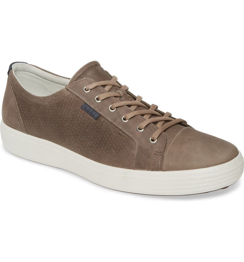 ECCO Soft VII Lace-Up Sneaker, Main, color, MOONROCK LEATHER