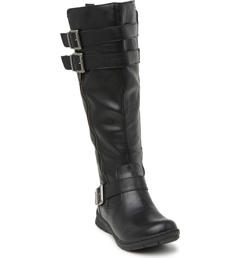 B O C BY BORN Tycho Strappy Tall Leather Boot, Main, color, BLACK PU