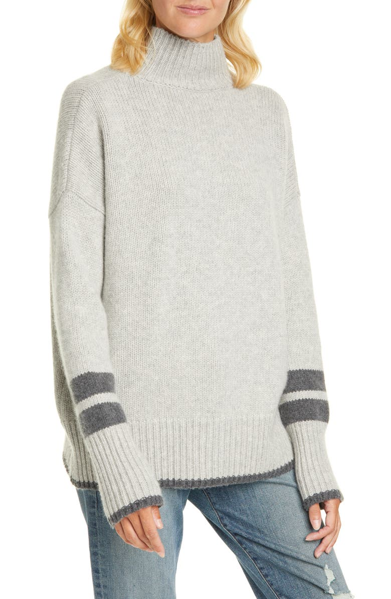 LA LIGNE Kingsley Stripe Detail Wool & Cashmere Turtleneck Sweater, Main, color, GREY/ CHARCOAL