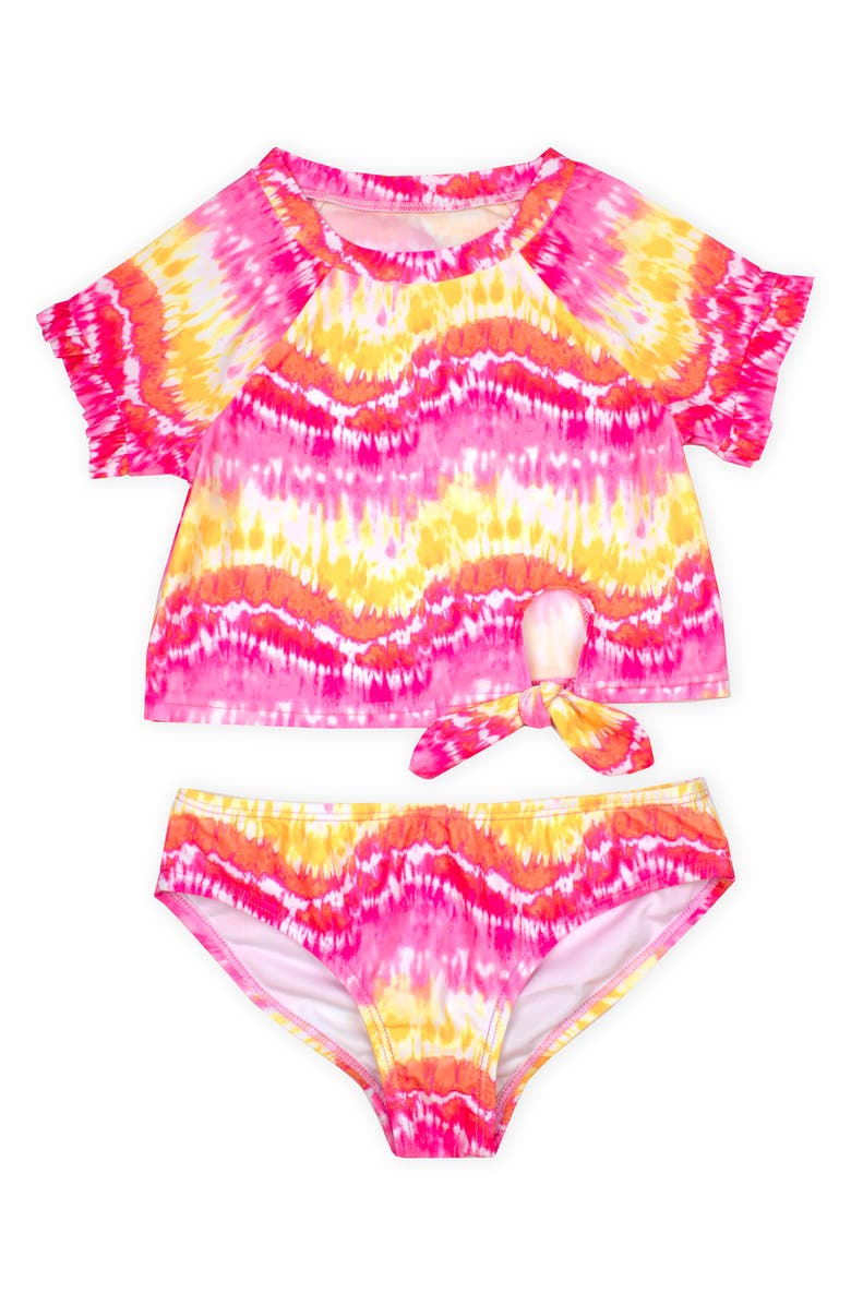 KATE MACK Tie Dye Two-Piece Rashguard Swimsuit, Main, color, YELLOW