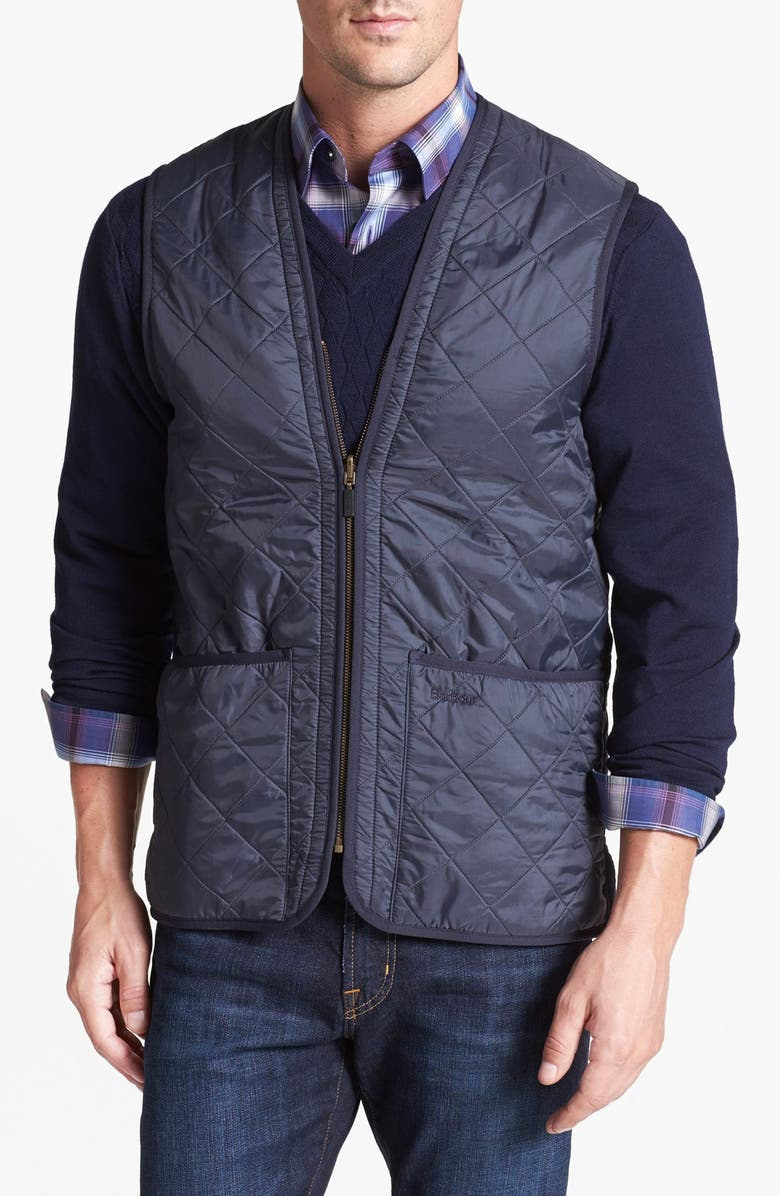 BARBOUR 'Polarquilt' Relaxed Fit Zip-In Liner Vest, Main, color, NAVY