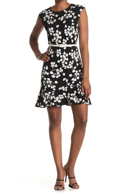 Image of London Times Textured Knit Belted Dress