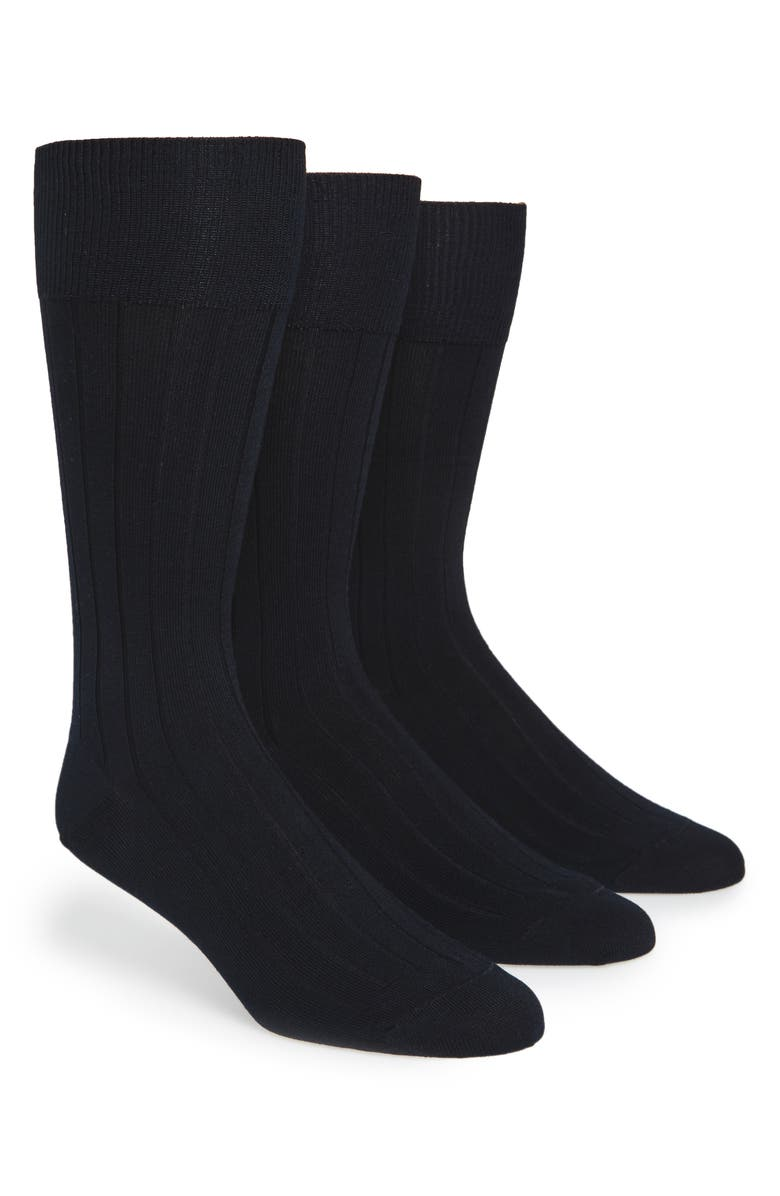 CALVIN KLEIN 3-Pack Wide Rib Dress Socks, Main, color, NAVY