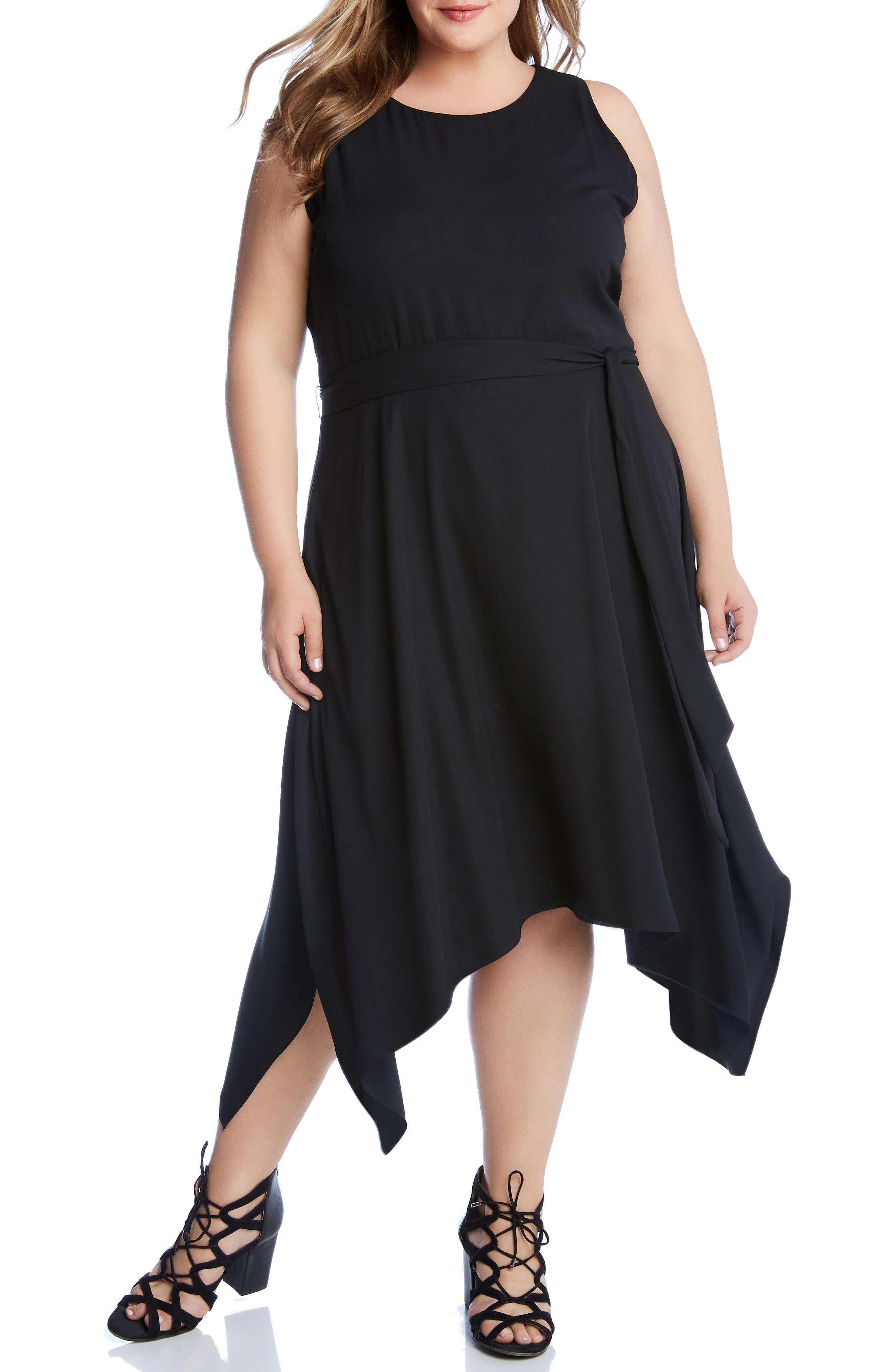 Plus Size Karen Kane Sleeveless Handkerchief Hem Dress, Black