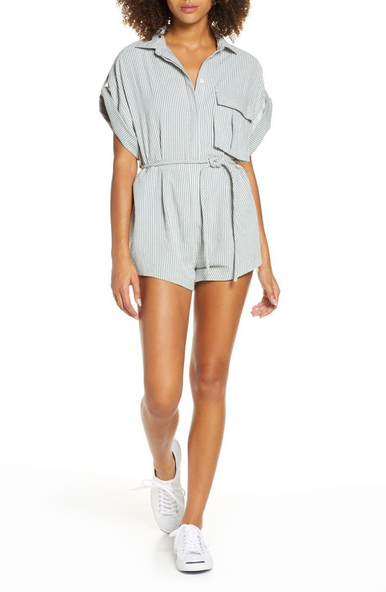 SIGNIFICANT OTHER Hartley Stripe Belted Romper, Main, color, PISTACHIO STRIPE