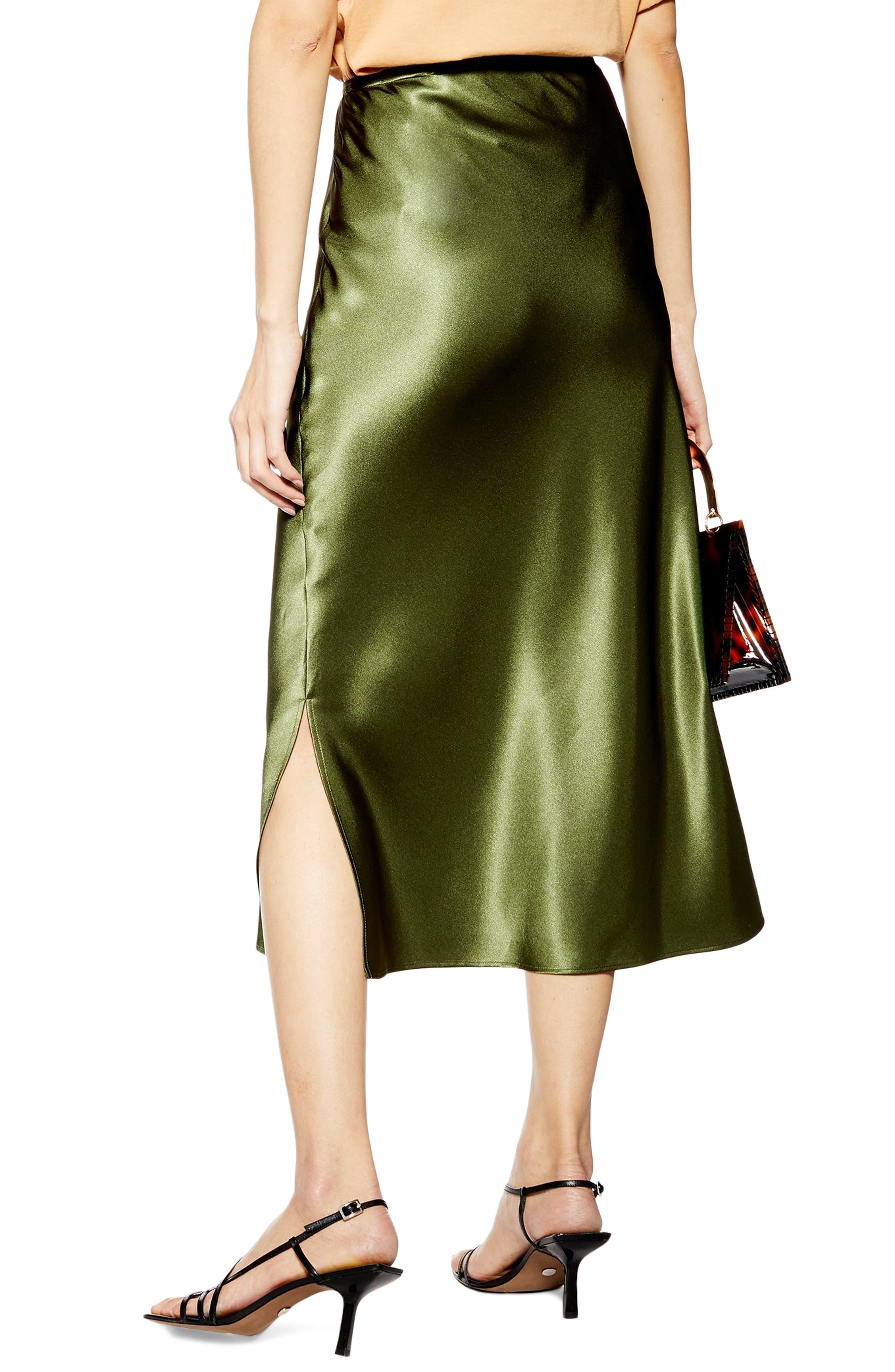 ,                             Slit Bias Cut Satin Midi Skirt,                             Alternate thumbnail 2, color,                             OLIVE