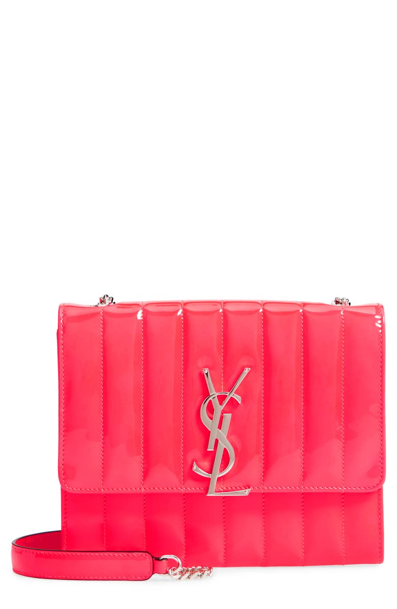 SAINT LAURENT Vicky Patent Leather Wallet on a Chain, Main, color, NEON PINK