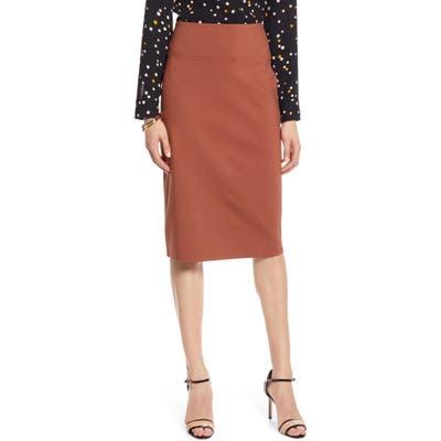 Petite Halogen Ponte Pencil Skirt, Brown