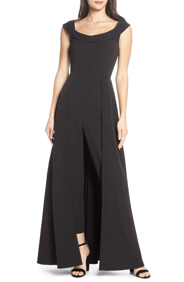 KAY UNGER Jumpsuit Gown, Main, color, BLACK