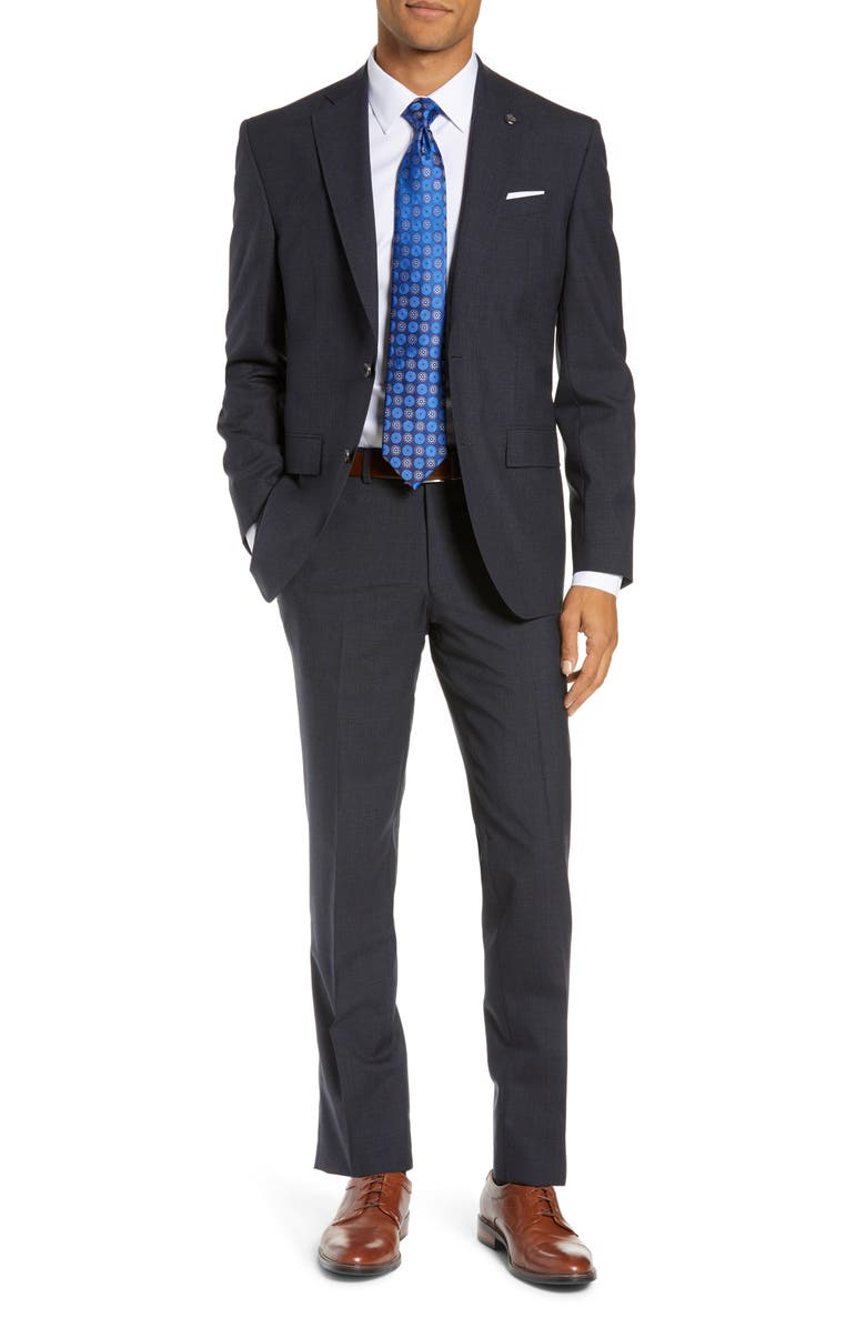TED BAKER LONDON Roger Slim Fit Windowpane Wool Suit, Main, color, CHARCOAL