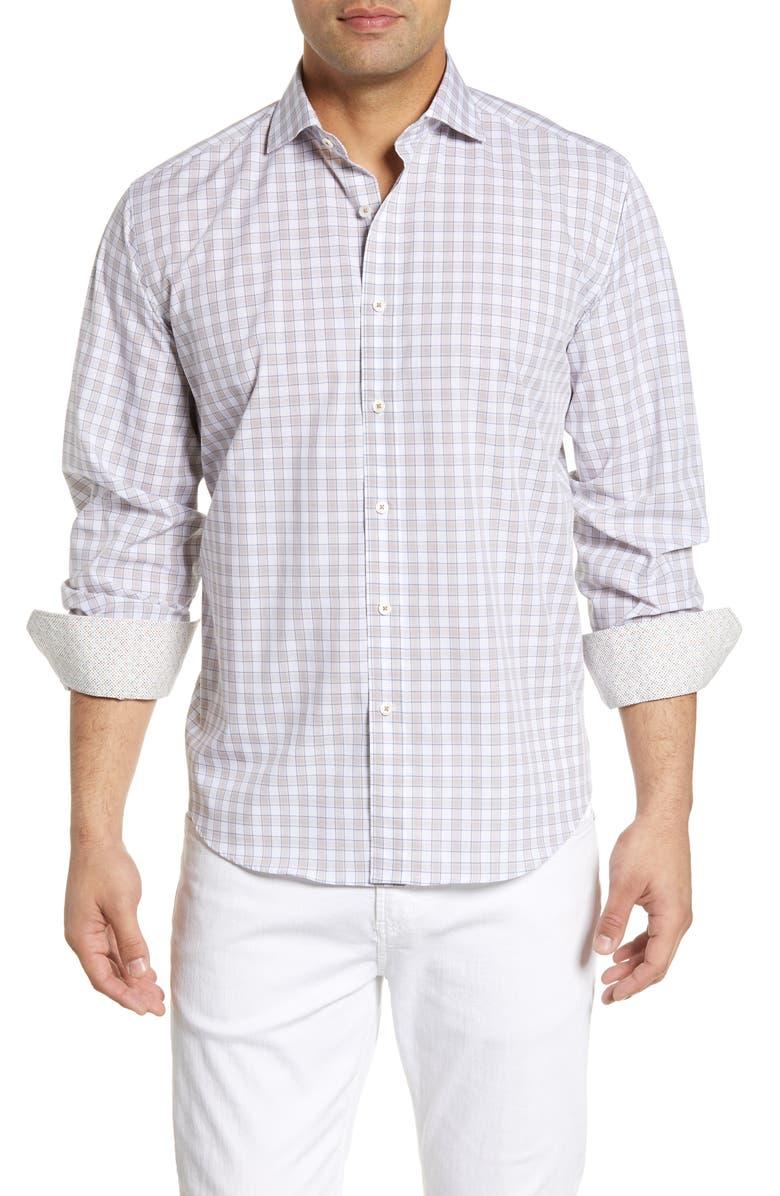 BUGATCHI Classic Fit Check Cotton Shirt, Main, color, SAND
