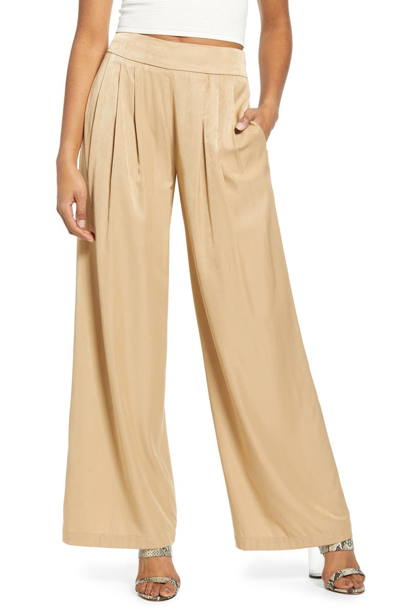ALL IN FAVOR Wide Leg Satin Pants, Main, color, CHAMPAGNE