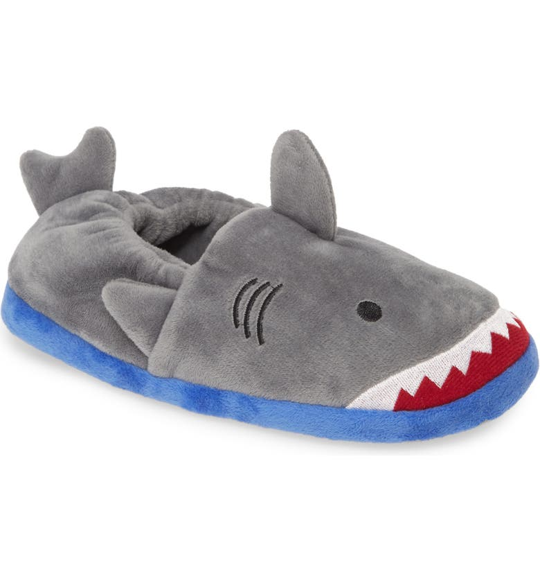 TUCKER + TATE Fuzzy Shark Slippers, Main, color, GREY FABRIC