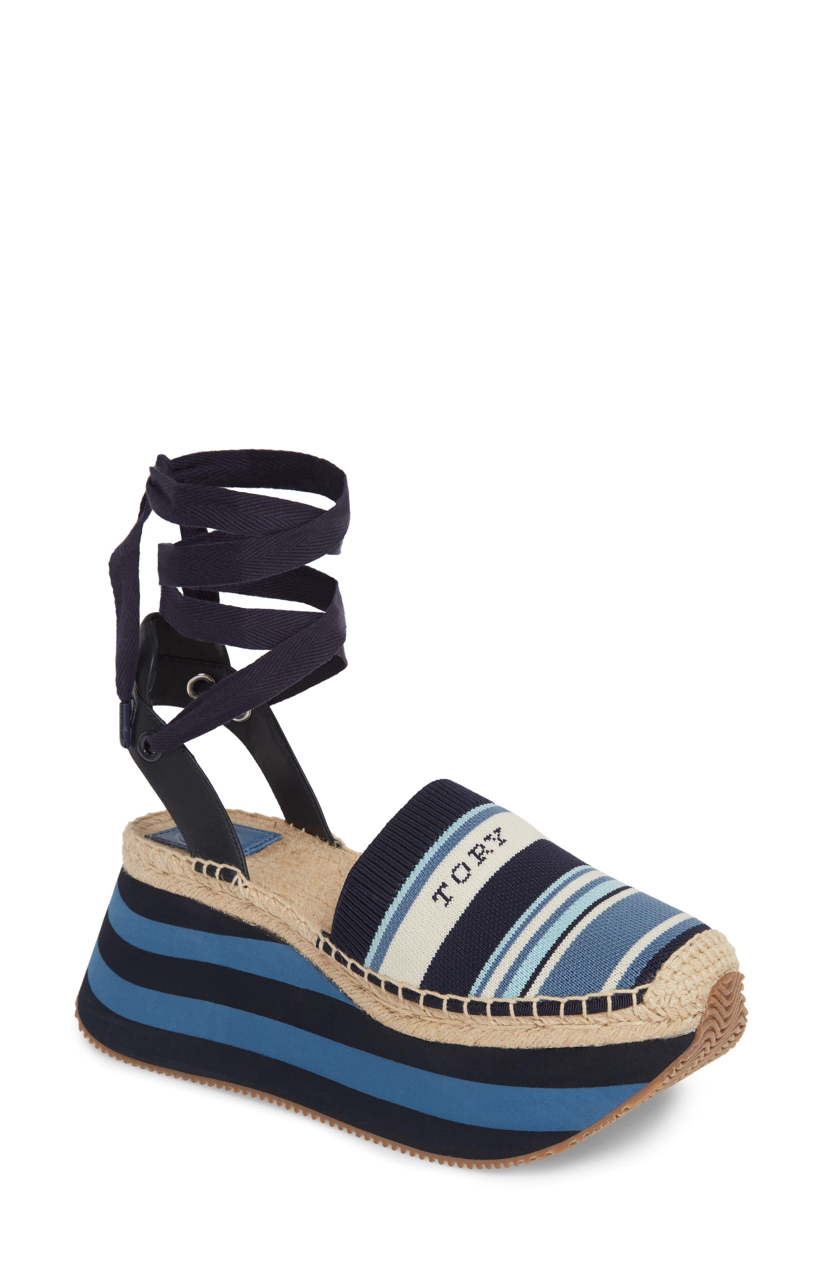 Tory Burch Daisy Lace-Up Platform Shoe, Blue