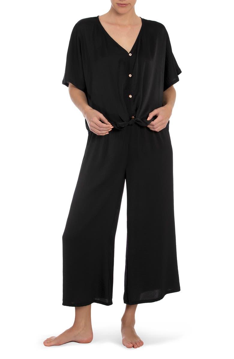 MIDNIGHT BAKERY Molly Solid Pajamas, Main, color, BLACK
