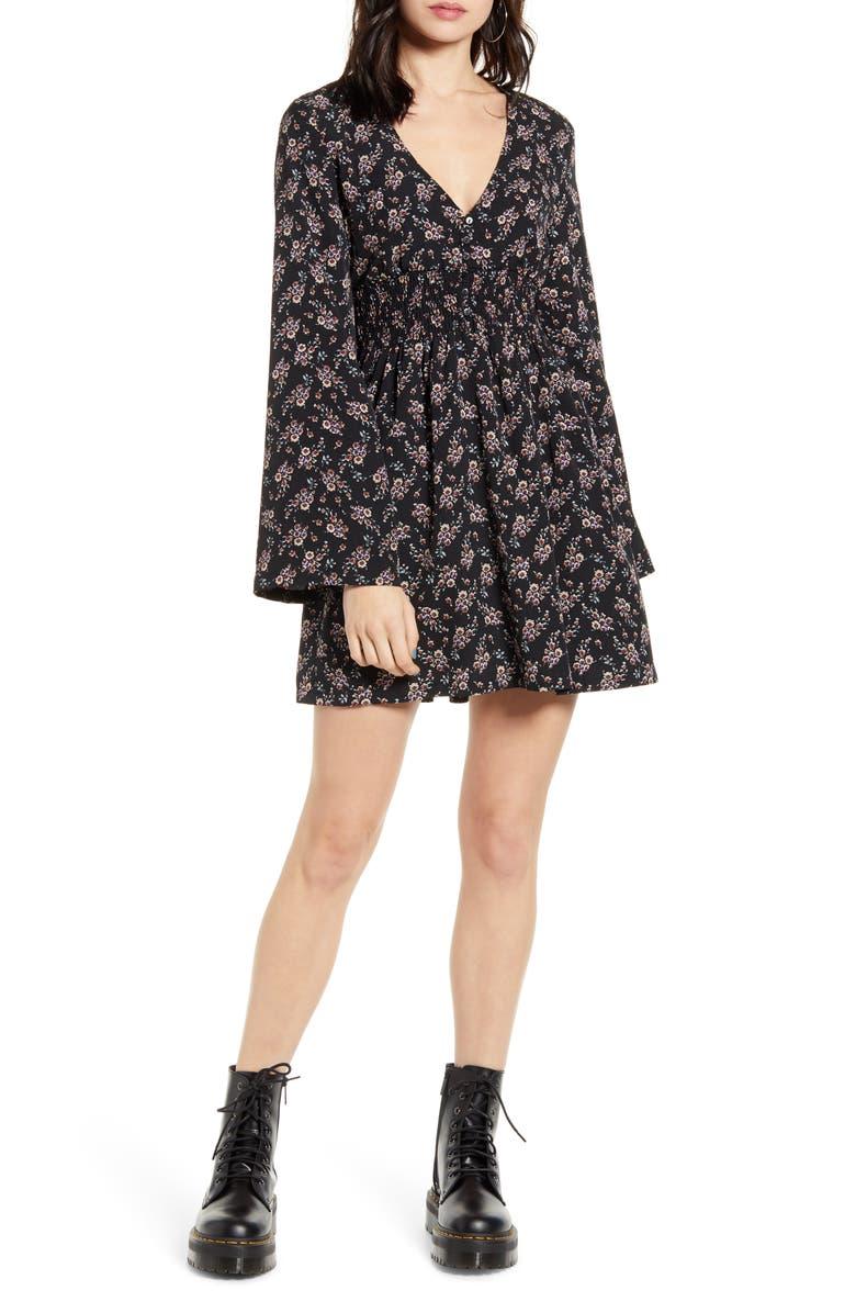 LIRA CLOTHING Holland Long Sleeve Minidress, Main, color, BLACK